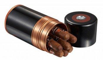 Big Joe 7 Cigar Travel Humidor Black with Copper Trim