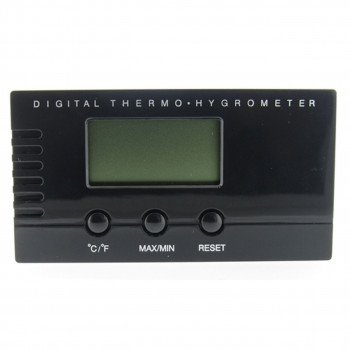 Black Digital Thermo Hygrometer For Cigar Humidors