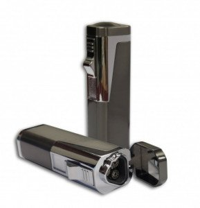 Typhoon Triple Flame Torch Lighter w/Retractable Bullet Cutter - Gray