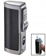 Aleus Black Matte Triple Jet Cigar Lighter With Built-In Punch