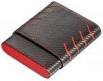Black and Red Carbon Fiber pattern 6 Finger Cigar Case