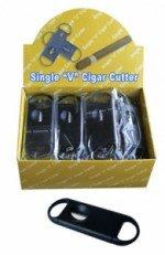 V-Cut Cigar Cutter Display Box of 24 - (Black Plastic)